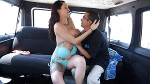 Big tits chick with sexy tattoos Aitana gets fingered in a car