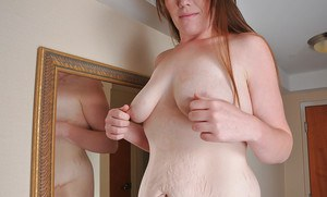 Shaved pussy and saggy tits of an amateur fatty Margot shown in close up