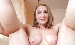 Adorable blonde fatty Dana is a mature babe that loves masturbating