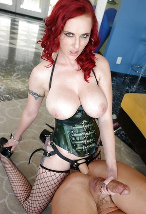 Magnificent redhead MILF is an awesome female dominator