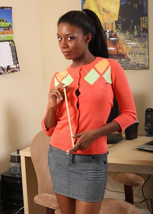 Amateur ebony babe Monica undressing in her office of lust