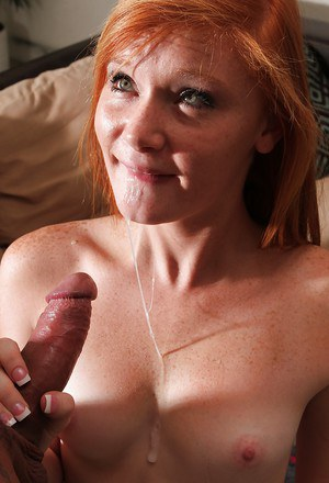 Cute girl with red hair is hardcore banged in her tight hole