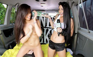Splendid girls in the limo are having so much lesbian fun