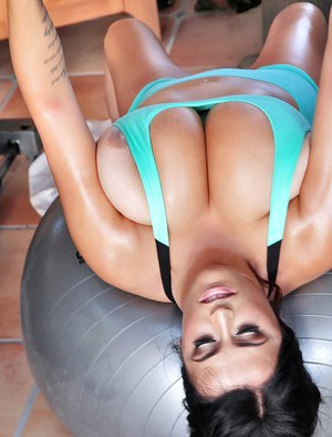 European brunette Leanne Crow demonstrates her big tits and hard nipples