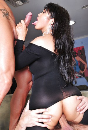 Threesome sex with an Asian brunette milf Mika Tan and two other men