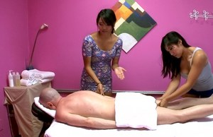 Angelina Chung and Mia Li do massage and handjob to a lucky guy