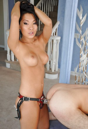 Sweet Asian whore is sucking a dick and fucking a bad boy