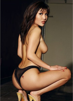 Lingerie brunette model Jeannie Kim teases her big tits and tight ass