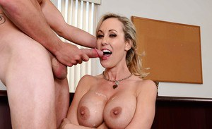 Mature mom Brandi Love enjoys amazing sex with her man in office