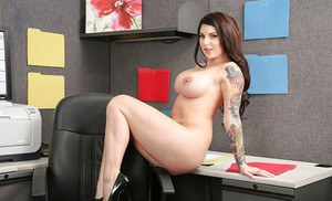 Busty secretary Darling Danika dose some undressing in her office