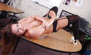 Milf teacher Aurora Snow reveals her perfect big tits in stockings