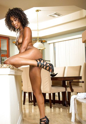 Ebony brunette Misty Stone loves masturbating in high heels