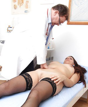 Gyno session with an perfect mature brunette Carmelita and her doctor