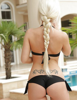 Outdoor posing from a marvelous blonde babe in lingerie Anastasia Blonde