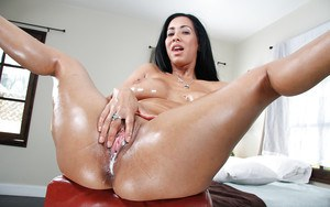 Isis Love has her milf big tits teased and oiled cunt creampied