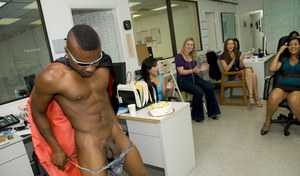 Clothed ladies have fun on their wild CFNM office party with strippers