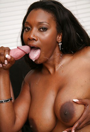 Mature pornstar Naomi Banxxx sucks cock and has her Ebony tits covered in cum