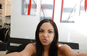 Latina brunette Danni Cole dose self shots while naked in the bathroom
