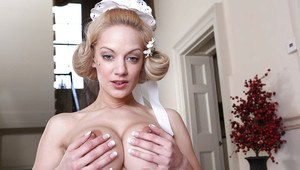 Milf maid Rebecca Moore shows off her long legs in stockings