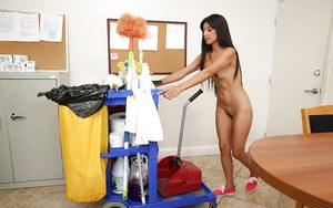 Latina babe Soffie works as a maid in office, cleaning it naked