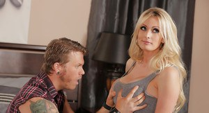 Milf pornstar Stormy Daniels has her big tits licked out and pussy fucked