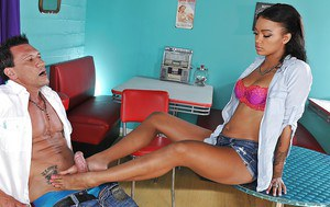 Ebony teen with tiny tits Harley Dean takes part in foot fetish scene