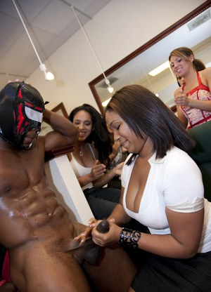 CFNM party with non nude office ladies having fun with a stripper