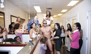 Wild office party with non nude chicks enjoying their CFNM action