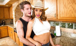 Reality wife with long legs Chanel Preston fucked hardcore in kitchen