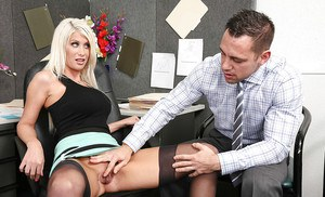 Office milf Riley Jenner receives cumshot from her coworker