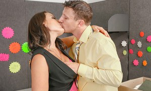 Office sex scene features big tits beauty Kayla West and her boss