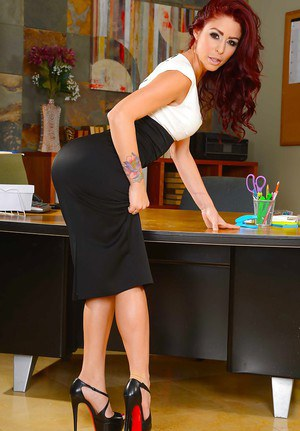 Redhead Teacher Eva Notty shows off her perfect milf pussy in high heels