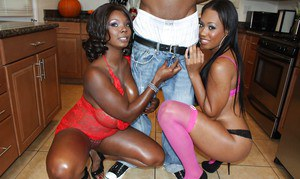Beautiful Ebony babes Monique and Stacey have their asses fucked in threesome