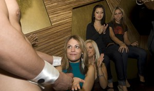 Clothed babes do blowjobs to a stripper on a non nude party
