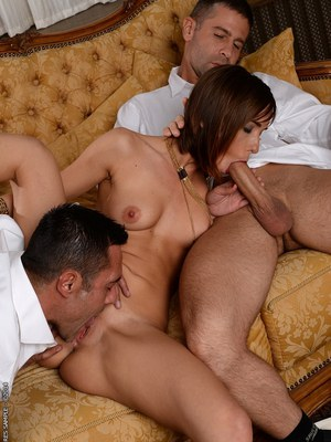 Threesome sex features double penetration of European babe Tina Hot