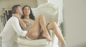 Sweet European pornstar Kira Queen has sex in her white lingerie