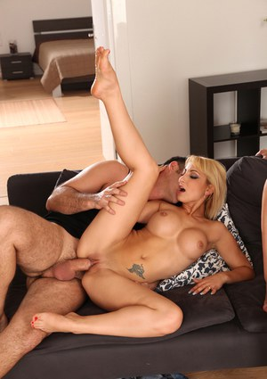 Big tits European girls Celine Doll and Alexis Crystal in a groupsex