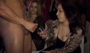 Busty girl do fantastic blowjobs on their wild clothed party