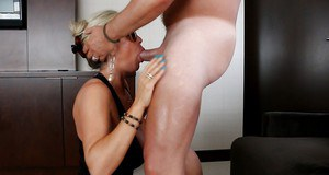Blonde housewife Sandra Otterson has her mature mouth fucked