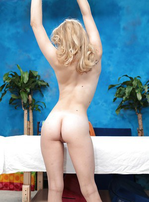 Blonde teen babe Allie gets ready for her daily relaxing massage