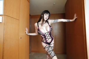 Tattooed babe with big tits and tight ass Aitana shows off in lingerie