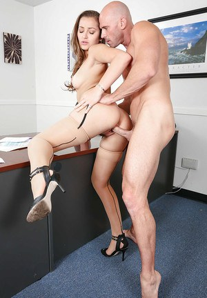 Reality beauty Dani Daniels has her pussy fucked in stockings while in office