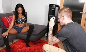 Ebony teen Anya Ivy enjoys hardcore fuck while in her stockings