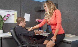 Reality blonde from the office Samantha Saint fucks in stockings