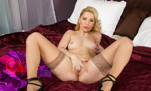 Amazing and slutty blonde with large ass Ashley showing her body