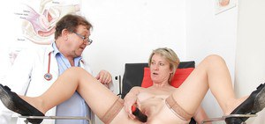 Mature slut with hairy pussy Ester has her pussy checked with gyno