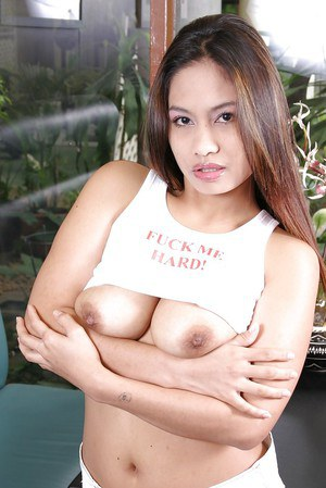 Asian babe with brunette hair demonstrates her big tits and hairy pussy