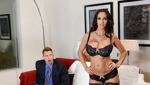 Mature wife Ava Addams shows off her blowjob skills and big tits