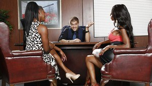 Office threesome groupsex with Ebony milf Jasmine Webb and her lovers