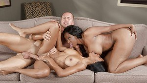 Ebony cowgirl Codi Bryant has sex with her milf mom and a white guy